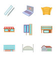 construction work icons set cartoon style vector image