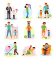 father and child dad and kids daughter or vector image