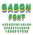 Gabon font Gabonese flag on letters National vector image