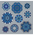 Ornamental snowflakes icon collection vector image