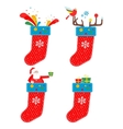 set of Christmas socks vector image