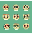 cute ethnic Mexican skulls icons vector image