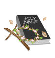 Holy Bible with Wooden Cross and A Crown of Thorn vector image