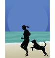 Dog on beach vector image