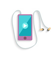 Smartphone with Headphones and Play sign Flat vector image