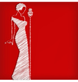 Abstract retro girl on red vector image