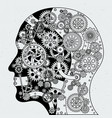 human head with clock mechanism and different vector image