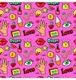 Lips Hands Cosmetics Fashion Seamless Pattern vector image