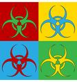 Pop art biohazard sign icons vector image