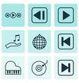 set of 9 music icons includes skip song start vector image