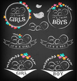 Vintage Baby Girl Boy and Twins Badge Set vector image