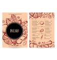 hand drawn restaurant menu design vector image
