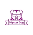 hipster dog in sunglasses outline logotype vector image