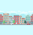 cityscape with old apartment houses vector image