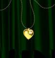 green drape and golden heart pendant vector image