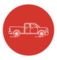 line art style pickup truck icon vector image
