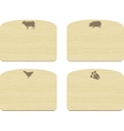 set of empty wooden cutting boards with animals vector image