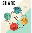 Share concept with connected human brains design vector image