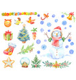 watercolor christmas stickers set of hand-drawn vector image