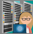 woman working in data center information vector image