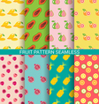 Colorful fruit seamless pattern set vector image