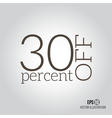 30 sale Price off icon with 30 percent discount vector image