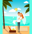 just married couple went to the beach after vector image