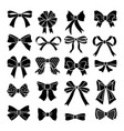 Monochrome bows and ribbons set holiday vector image