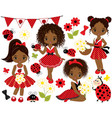 set african american girls and ladybugs vector image vector image