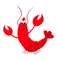 lobster with claw cute cartoon character funny vector image