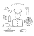 Baker profession and ingredients sketches vector image
