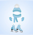 a hat with a fluffy pompon a scarf mittens vector image