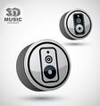 Audio speaker 3d round icon isolated vector image