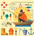 Fisherman in a boat fishing vector image