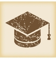 Grungy academic hat icon vector image