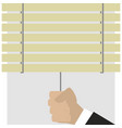 hand closes blinds vector image