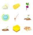 hay icons set cartoon style vector image