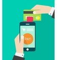 Person with mobile phone device processing credit vector image