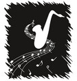 white silhouette of saxophone on black background vector image