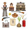 cowboy template flat colorful sign symbols vector image