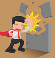Man Hero Worker Punch Wall vector image