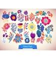 Flowers decorative set of doodle vector image