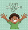 happy children day card cute afro boy hands up vector image