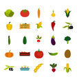 vegetables icon set flat style vector image