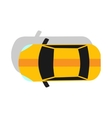 Yellow Car Top View Flat Design vector image vector image