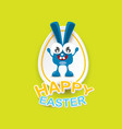 happy easter greeting card with funny bunny vector image