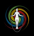sport woman jumping rope graphic vector image