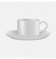 white cup and saucer mockup realistic style vector image