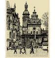 original sketchy handmade drawing of Lviv vector image