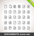Documents Icon Set Outline vector image vector image